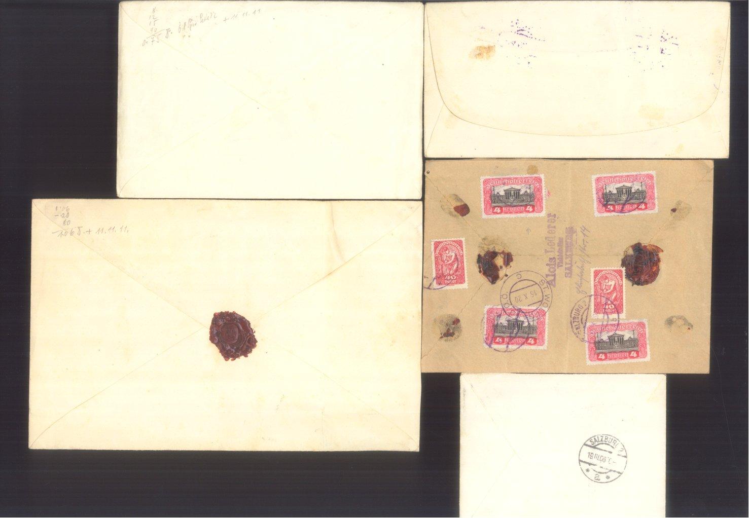 ÖSTERREICH 1883-1921, Belegepartie (auch Motiv DATUM!)-1