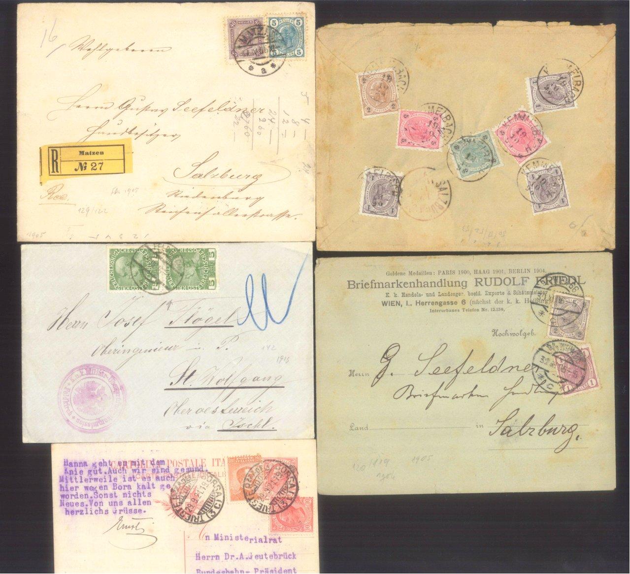 ÖSTERREICH 1883-1921, Belegepartie (auch Motiv DATUM!)-2