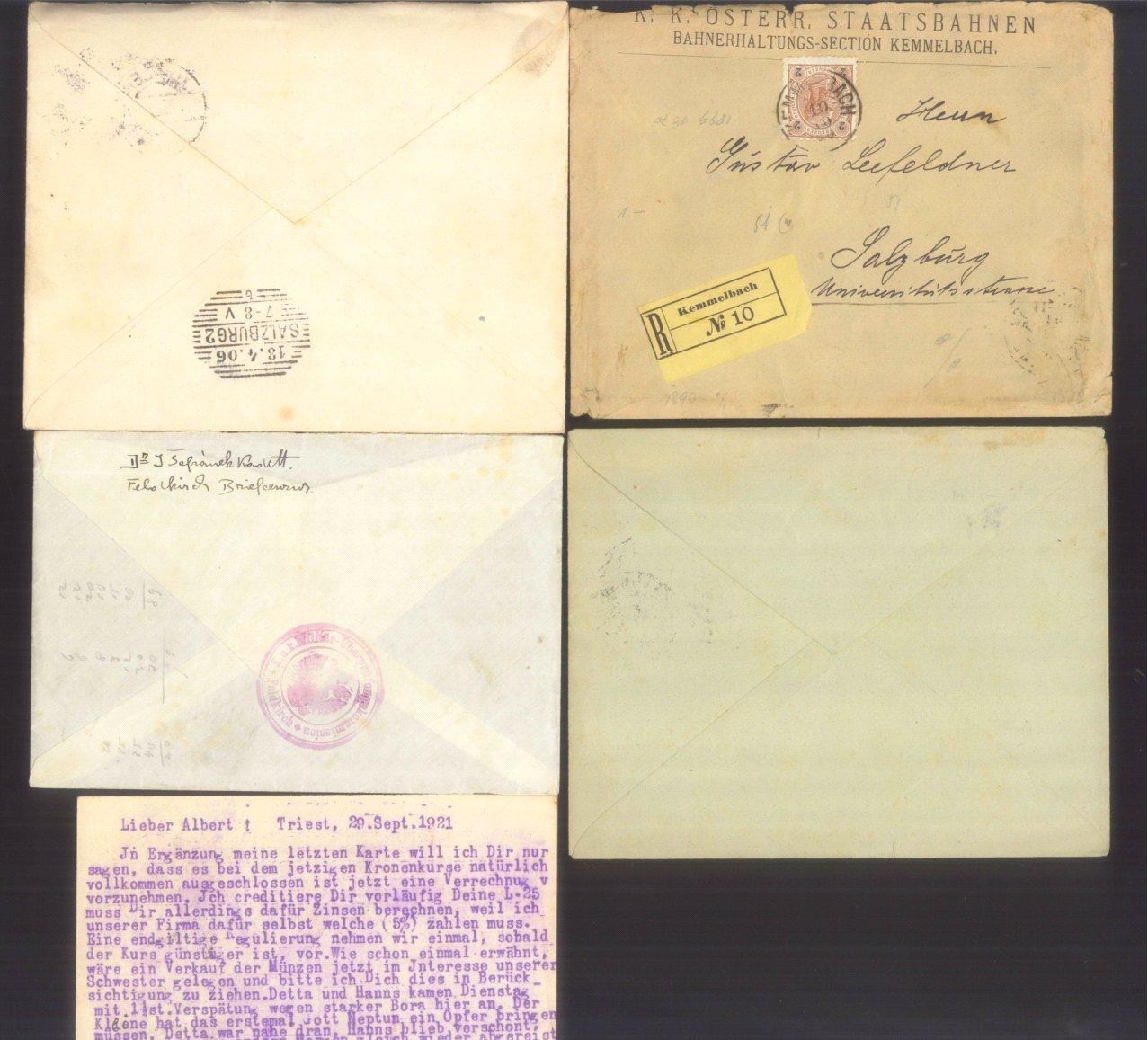 ÖSTERREICH 1883-1921, Belegepartie (auch Motiv DATUM!)-3