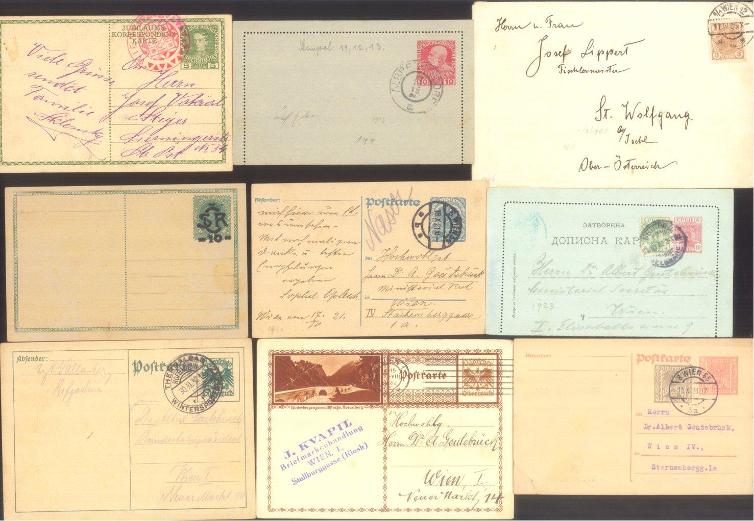 ÖSTERREICH 1883-1921, Belegepartie (auch Motiv DATUM!)-8