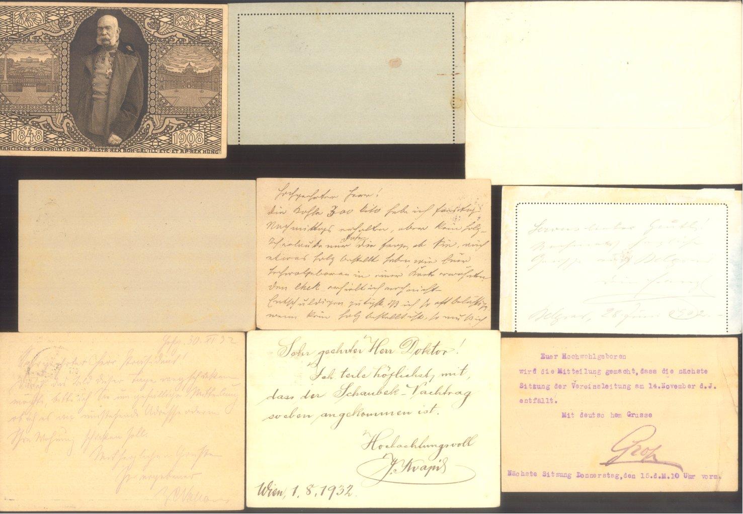 ÖSTERREICH 1883-1921, Belegepartie (auch Motiv DATUM!)-9