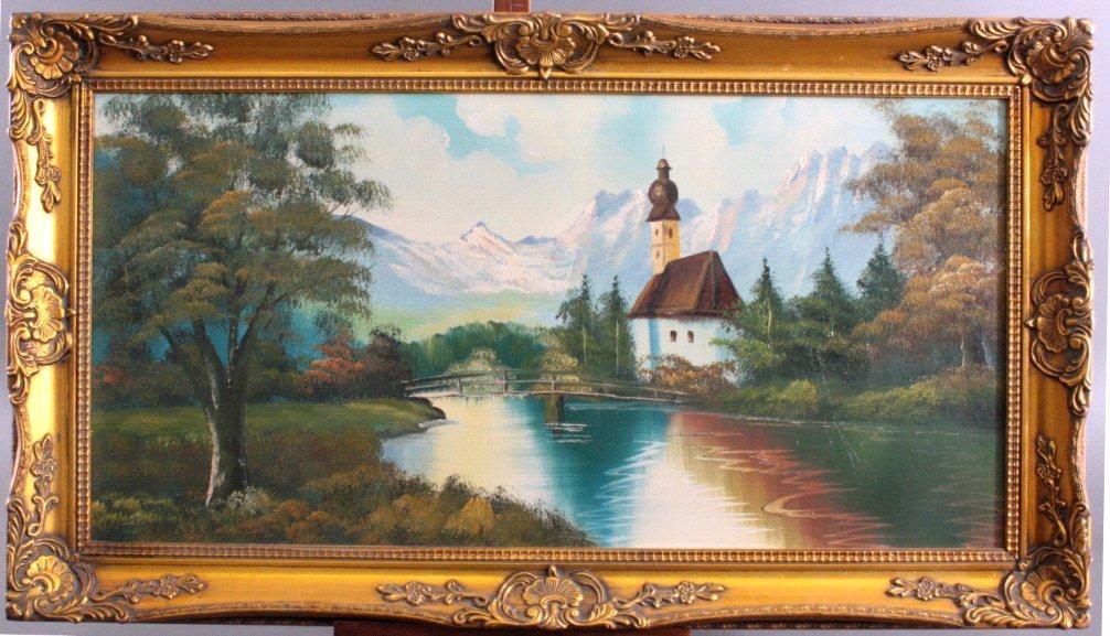 Alpenlandschaft mit Kapelle, zweite Hälfte 20. Jh.