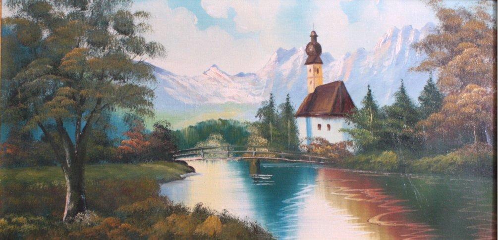 Alpenlandschaft mit Kapelle, zweite Hälfte 20. Jh.-1