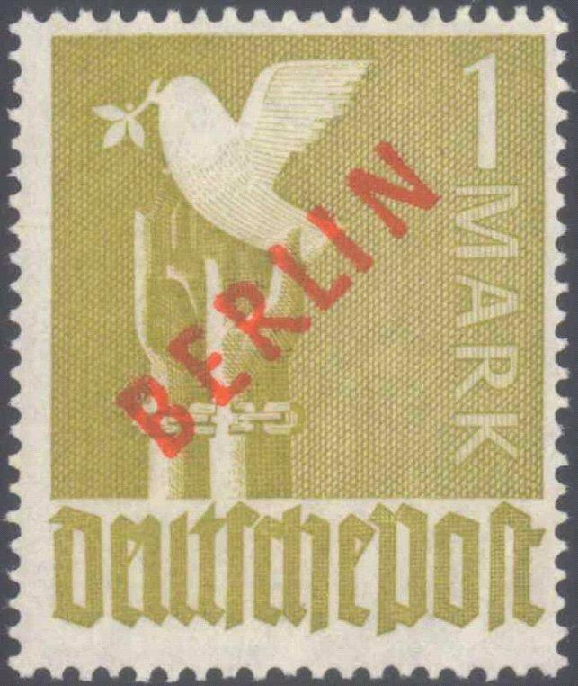 1949 Berlin, 1 Mark Rotaufdruck, Katalogwert 550,-Euro