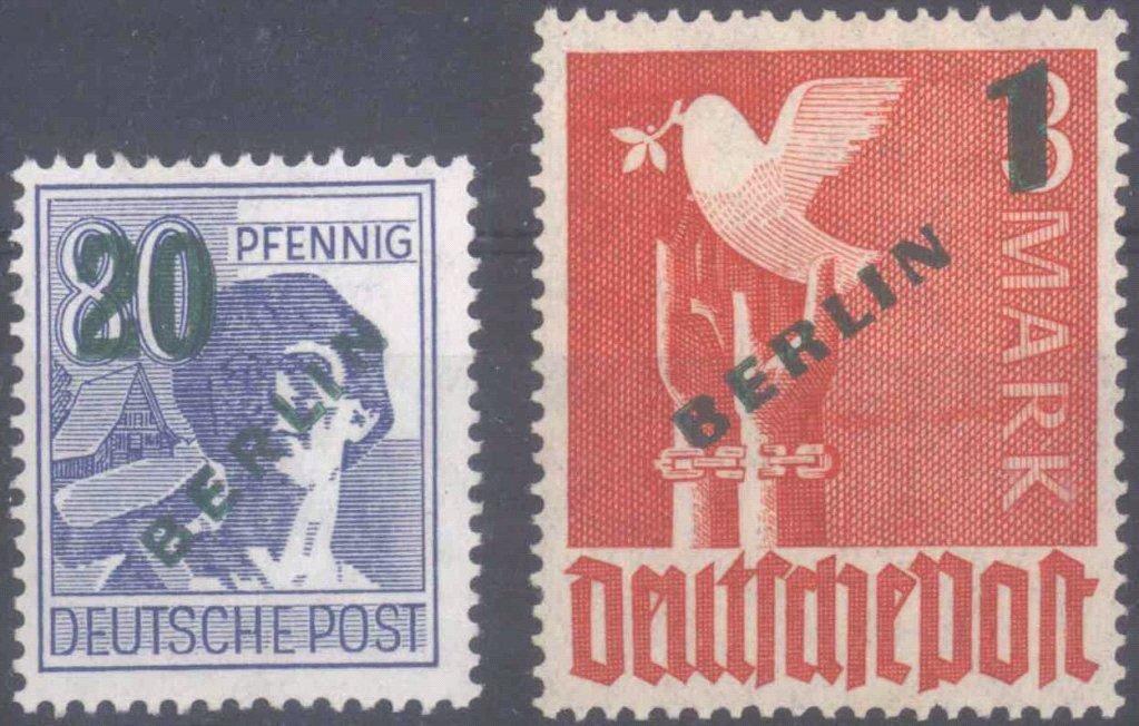 1949 Berlin, Höchstwerte Grünaufdruck, KW 230,- Euro