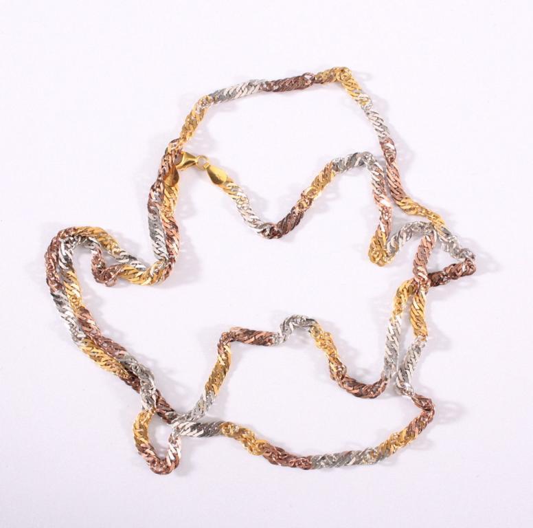 Halskette 8 kt Gelb- Weiß- und Rotgold
