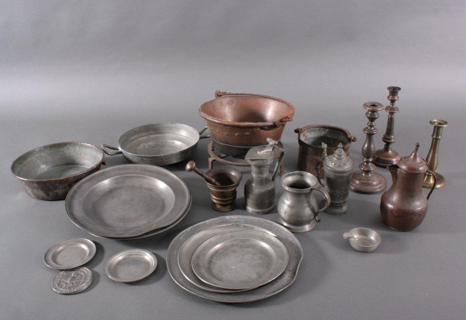 Konvolut Zinn, Messing, Kupfer