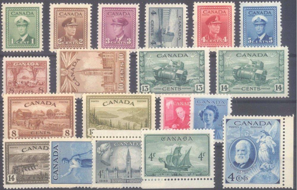 CANADA 1942-1949, postfrisches Lot von 19