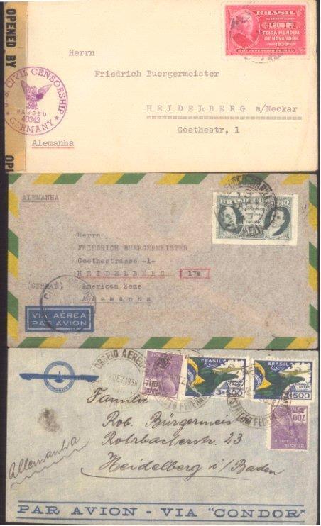 III. REICH / BRASILIEN 1936/1946, Geschichte HEIDELBERG!!!!