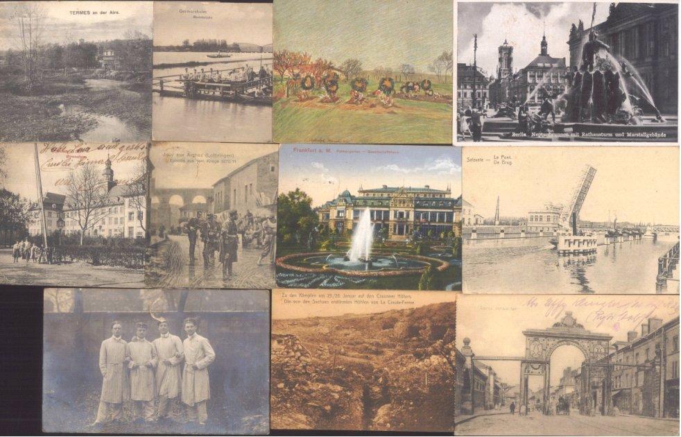 I. Weltkrieg, FELDPOST, 10 gelaufene Ansichtskarten