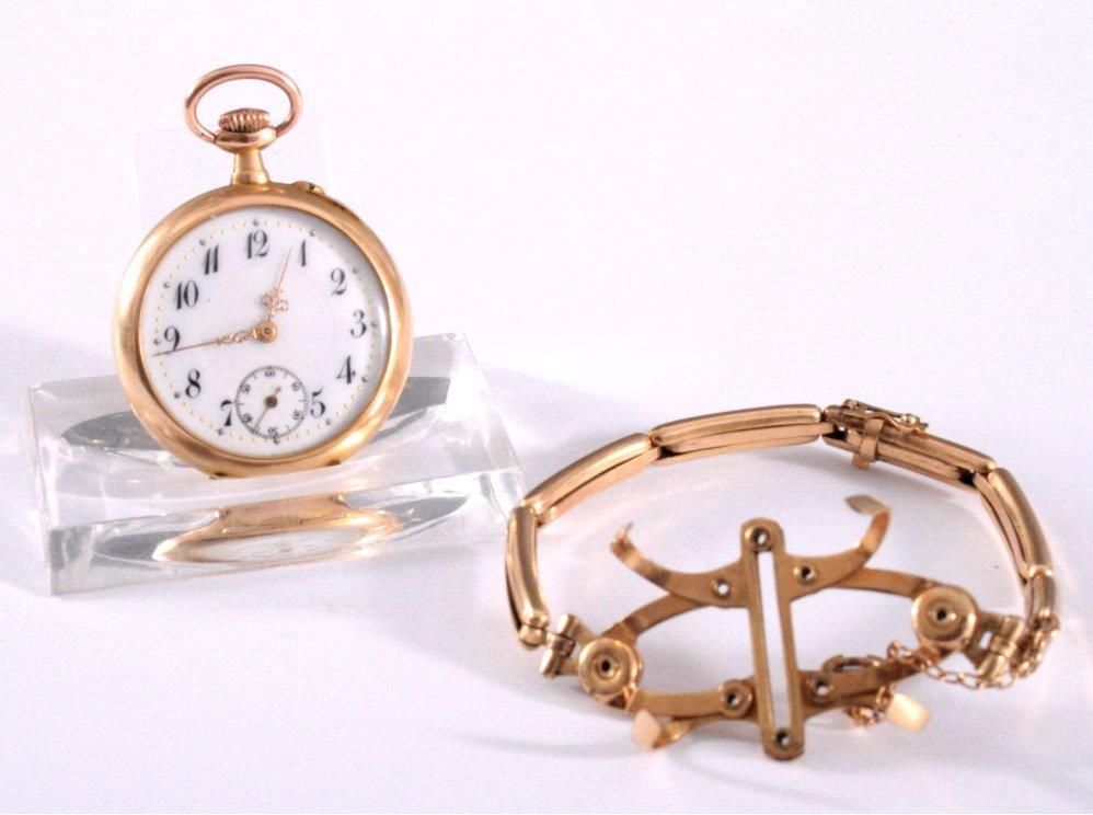 Goldene Damentaschenuhr um 1900