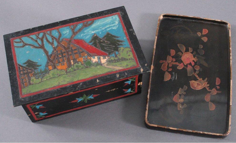 Tablett und Holzschatulle