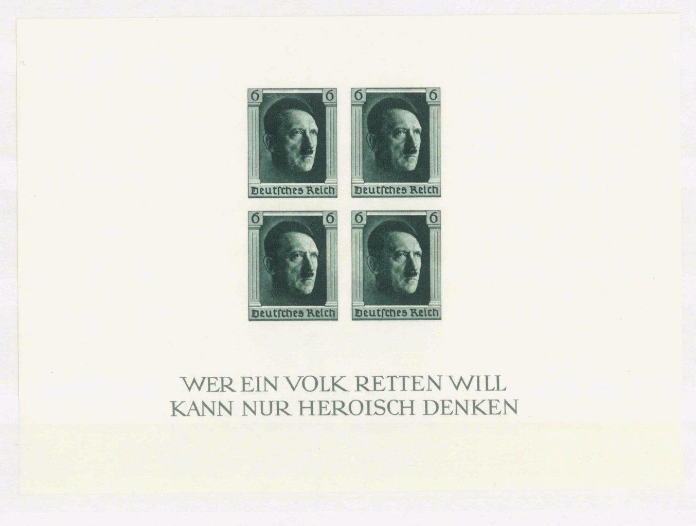III. REICH 1937, Hitler -Block ungezähnt