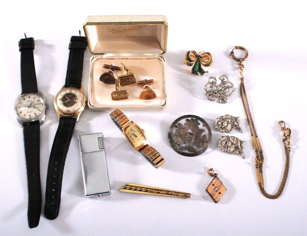 Konvolut Modeschmuck, Uhren und Feuerzeug