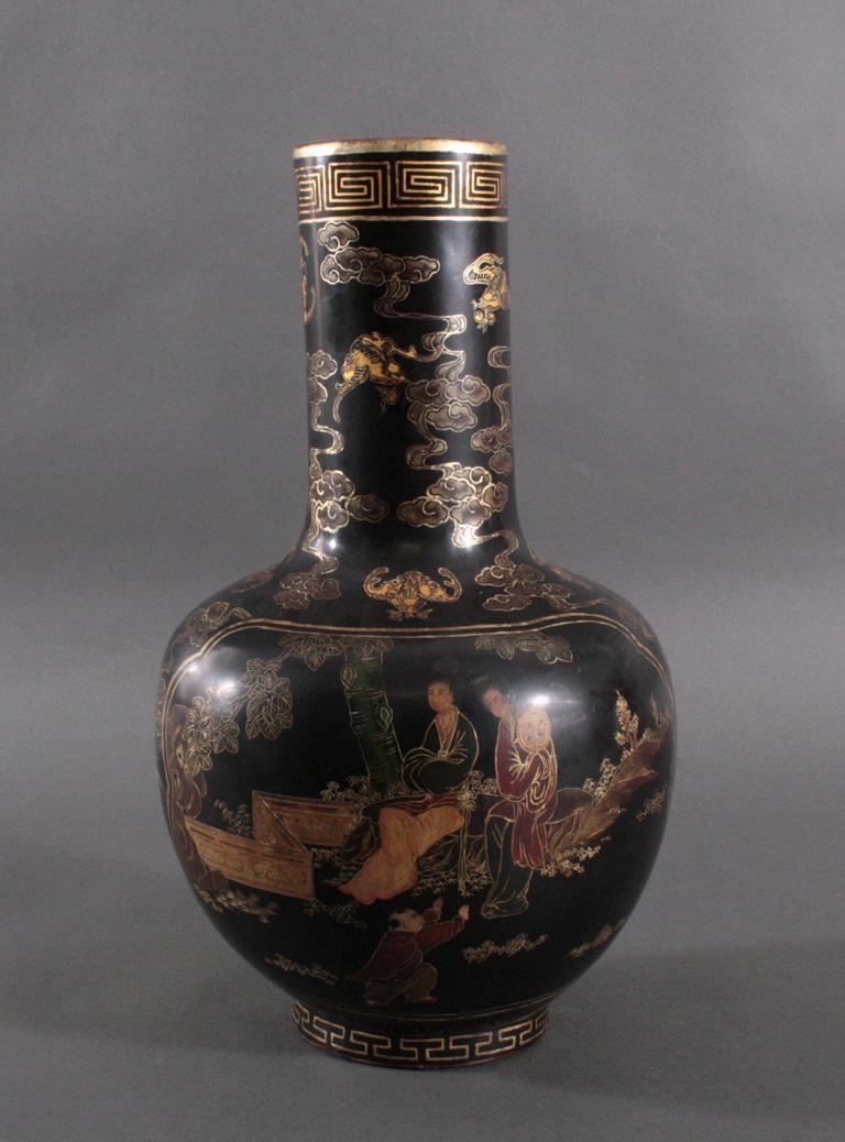 Antike Prunk Lack-Vase, China 19. Jh.