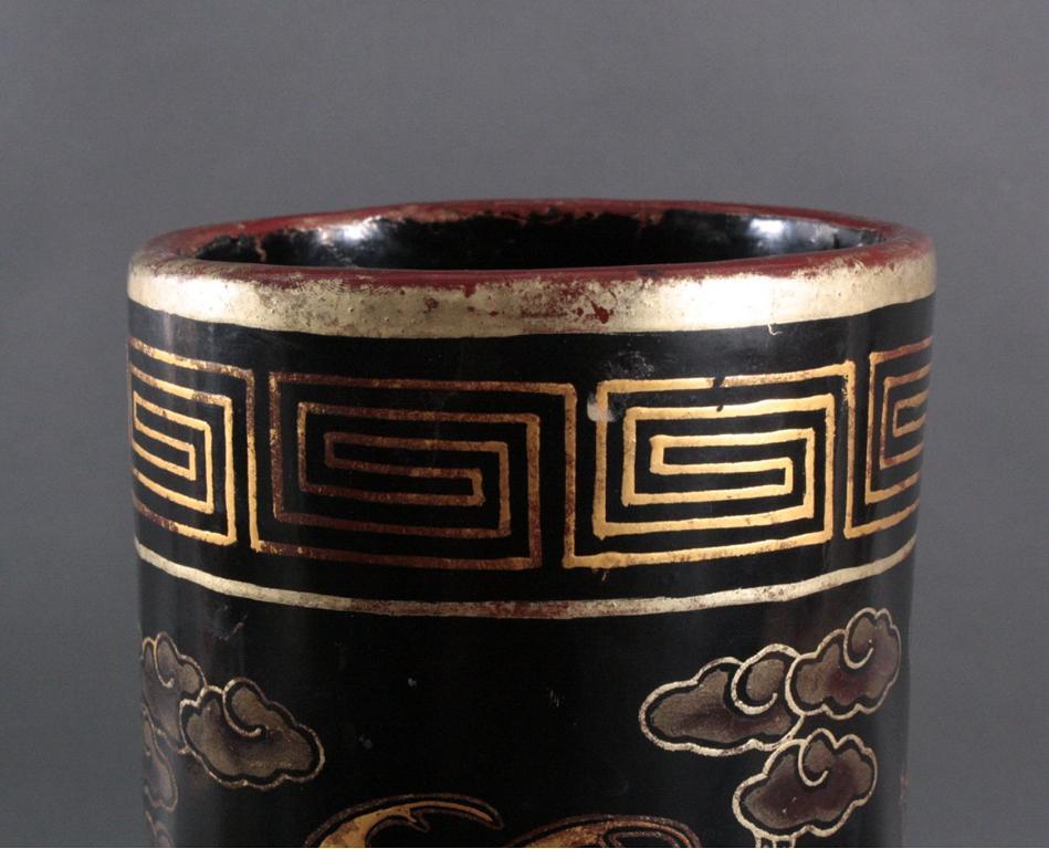 Antike Prunk Lack-Vase, China 19. Jh.-4