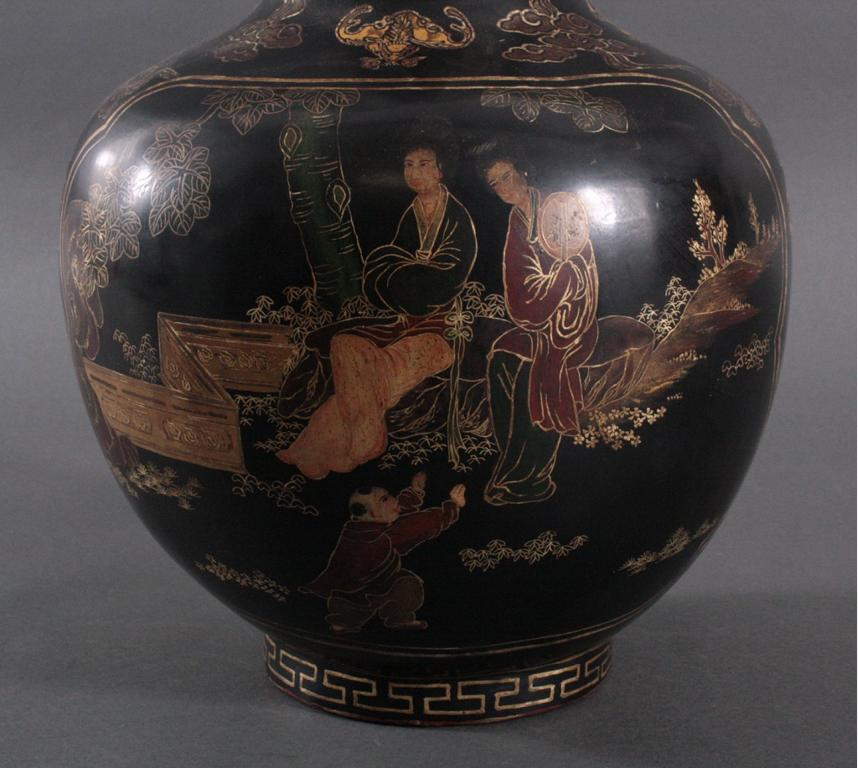 Antike Prunk Lack-Vase, China 19. Jh.-5
