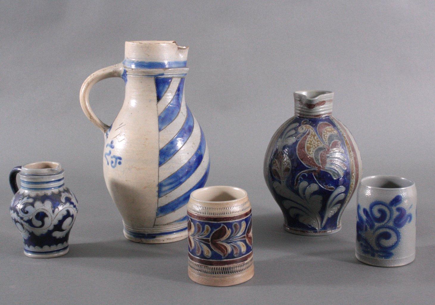Fünf Teile Keramik, Westerwald Steinzeug