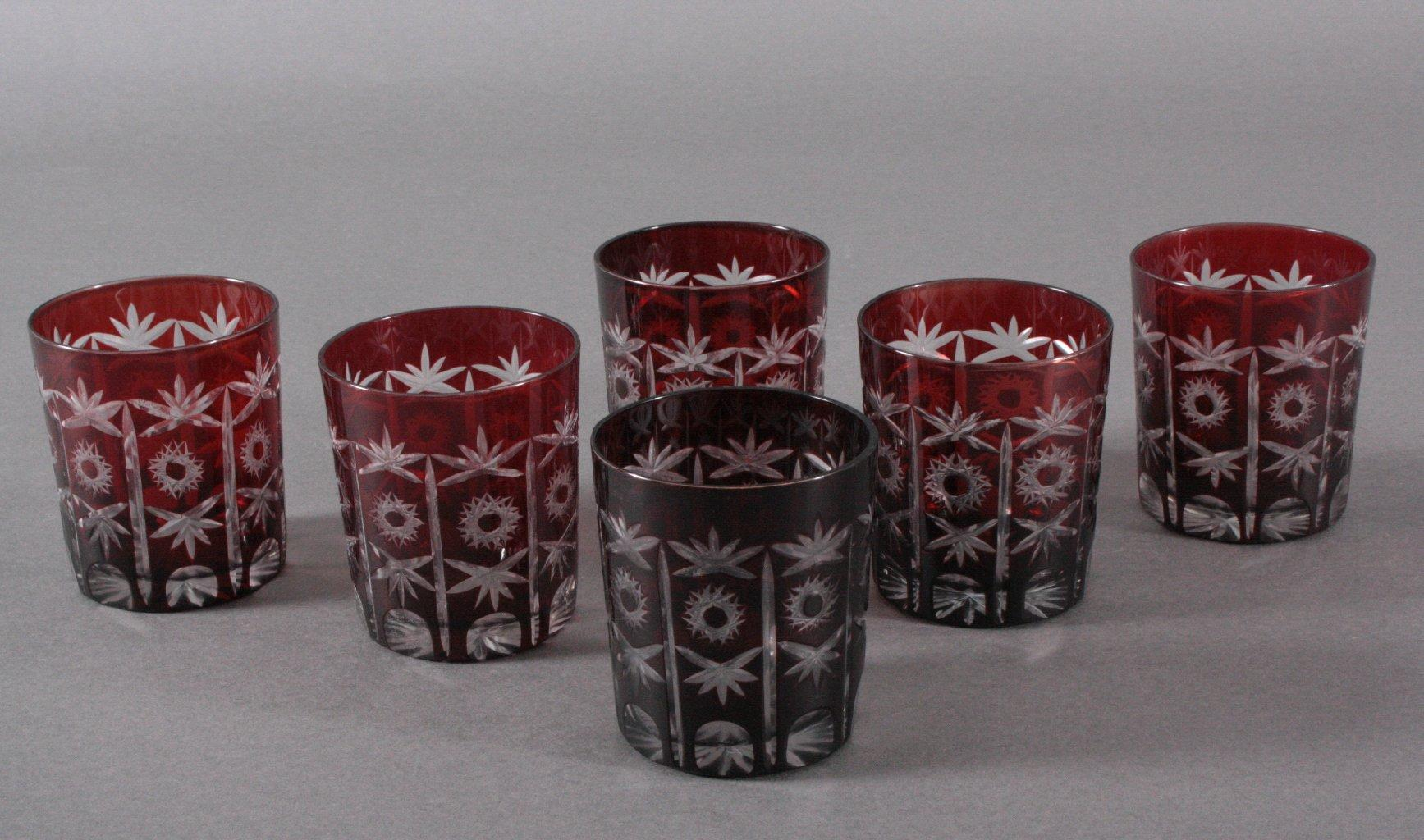 6 böhmische Gläser, 1. Hälfte 20. Jh