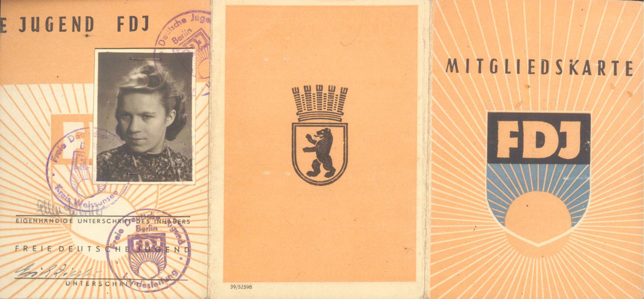 DDR 1947, früher Ausweis der FDJ, ERICH ZIEGLER SEW