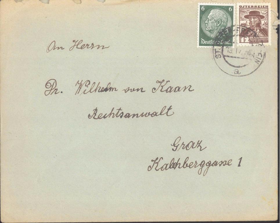 MOTIV JUDAICUM Österreich WILHELM VON KAAN 1938