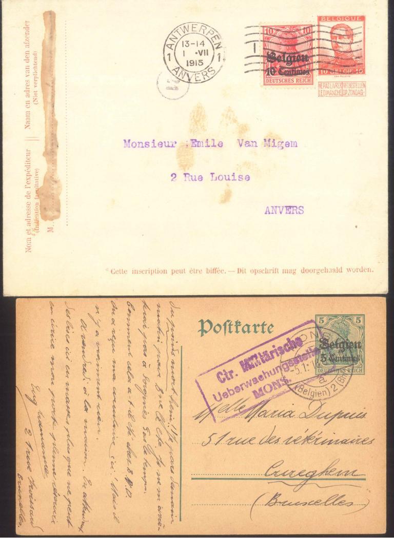 DEUTSCHE BESETZUNG I. WELTKRIEG BELGIEN 1915/1916