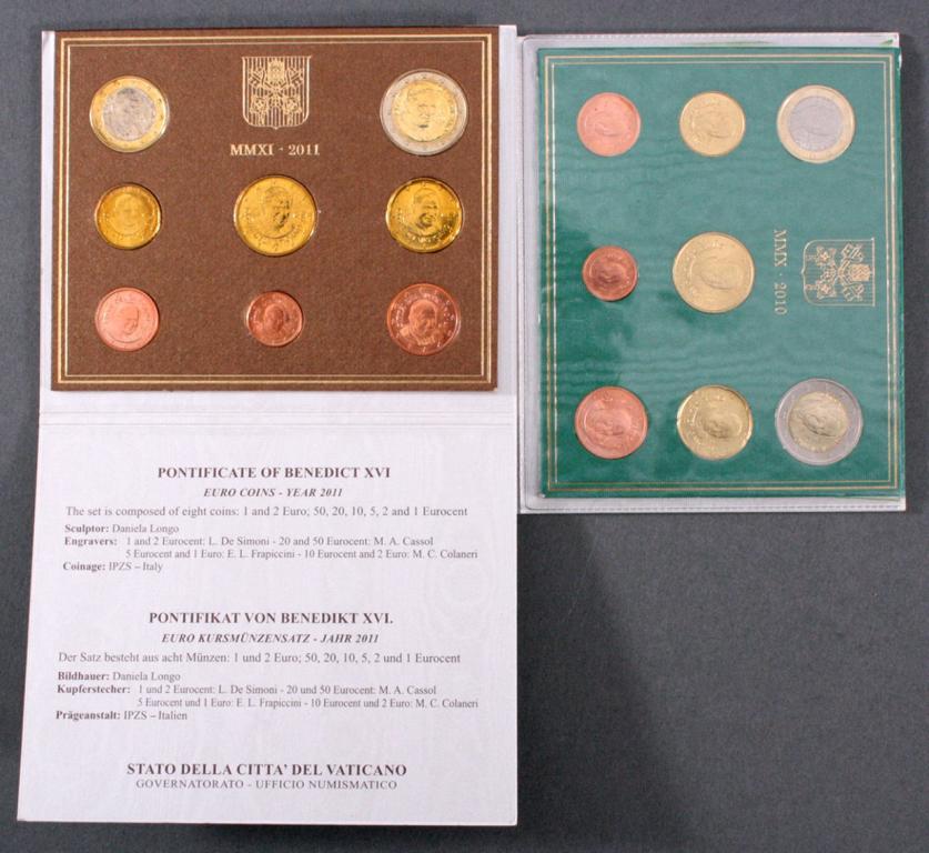 Vatikan Kursmünzensätze 2010 u. 2011