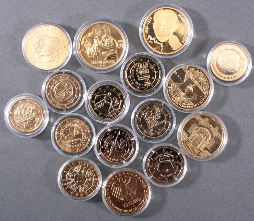 Vergoldete Euro Münzen