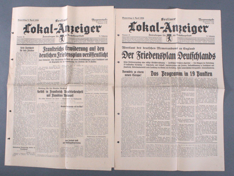 2 Zeitungen Berliner Anzeiger 1936