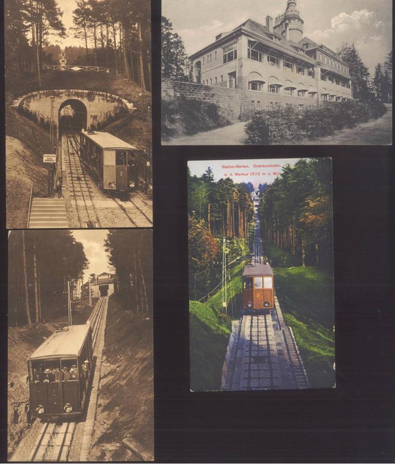 BADEN-BADEN, MERKURBERGBAHN um 1913/15, Motiv Drahtseilbahn