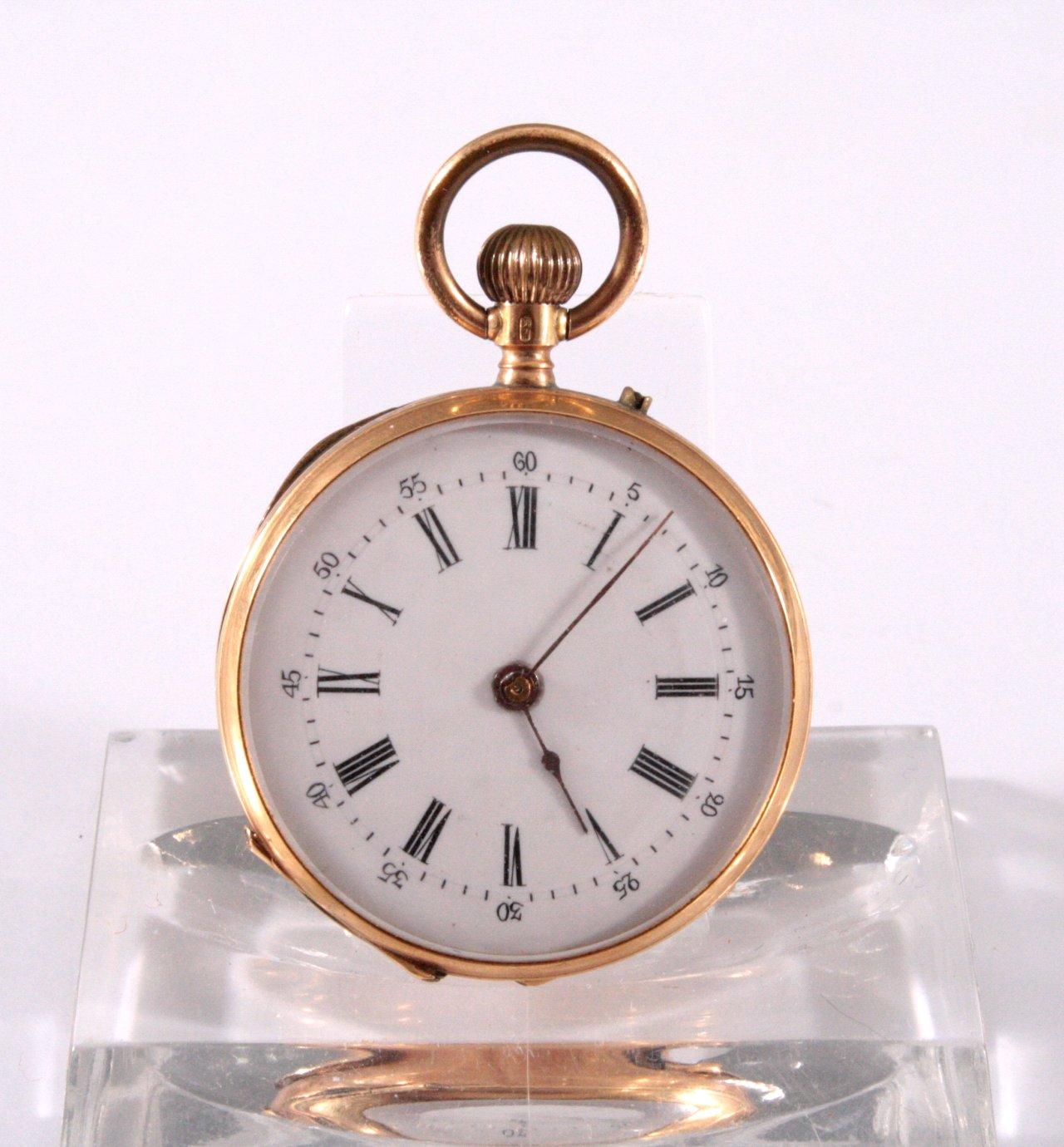 Offene Damentaschenuhr um 1900, 585/00 GG