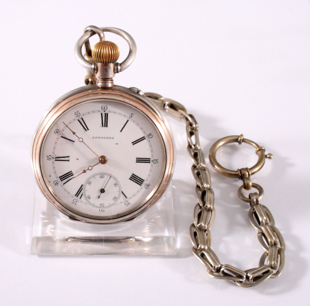 Silberne Herrentaschenuhr der Marke Longines um 1900