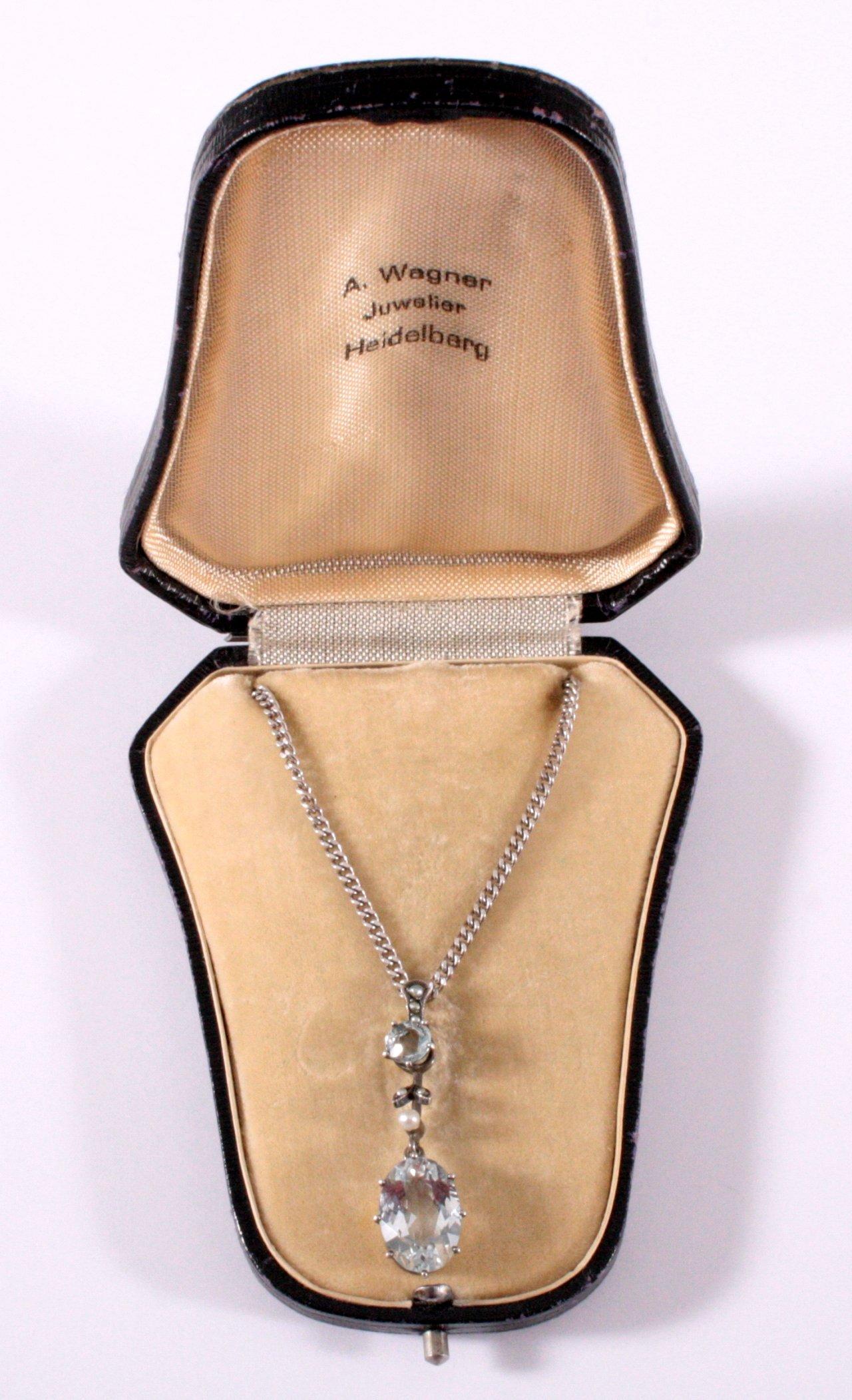 Jugendstil Halskette mit Aquamarin