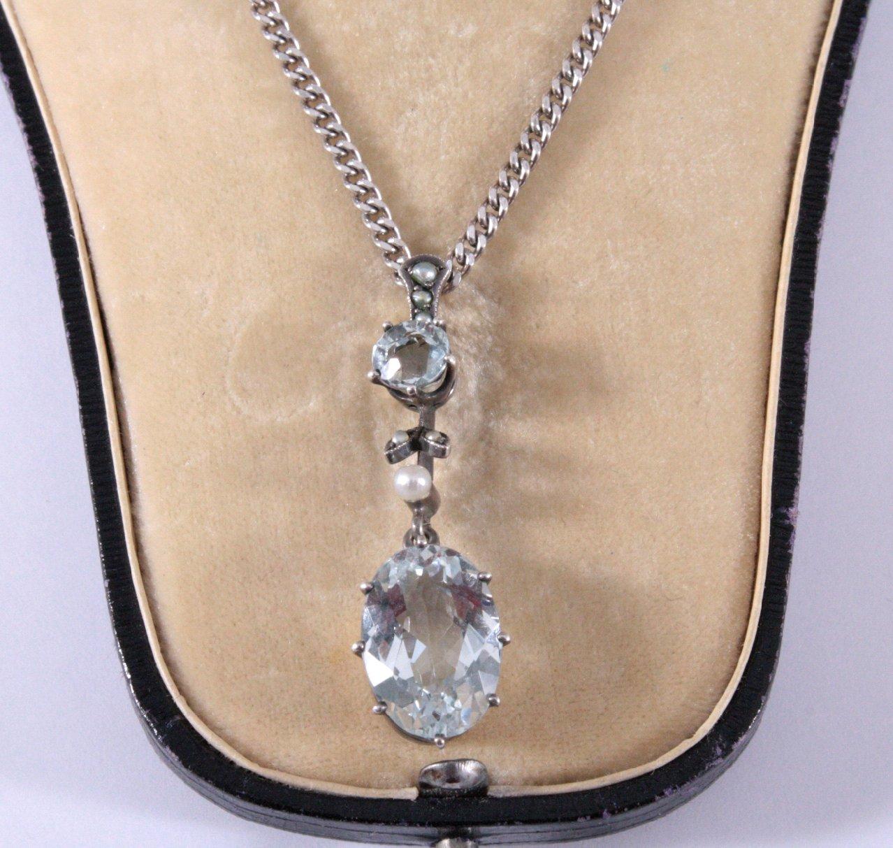 Jugendstil Halskette mit Aquamarin-1