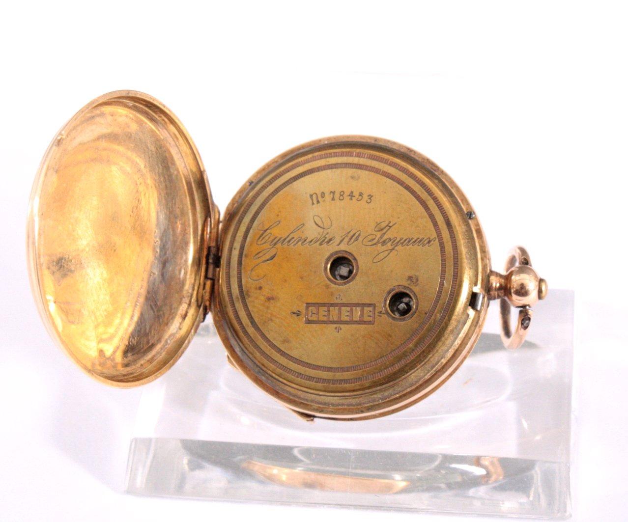Goldene Damentaschenuhr mit Emaille, 19. Jh.-2