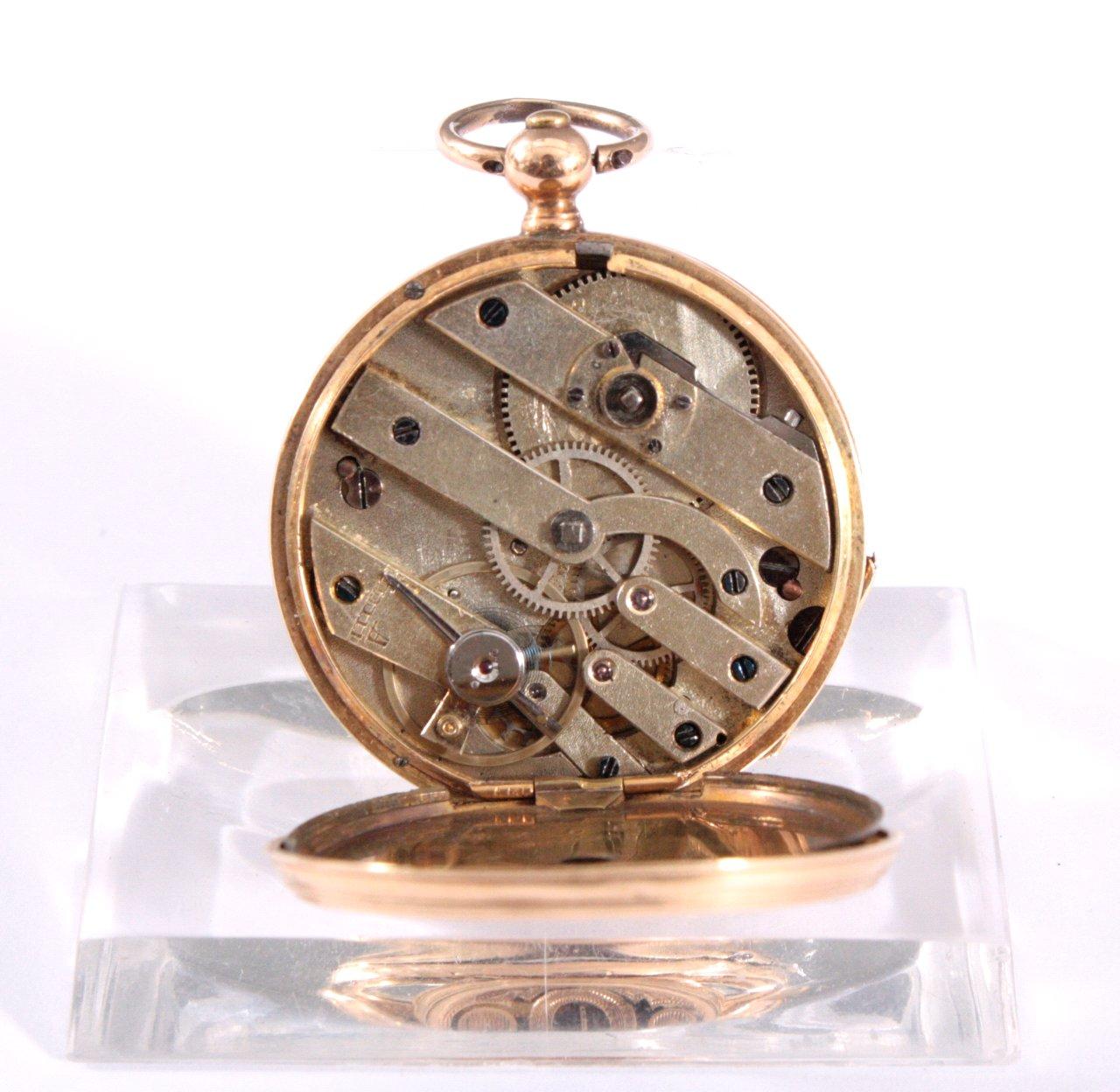 Goldene Damentaschenuhr mit Emaille, 19. Jh.-3