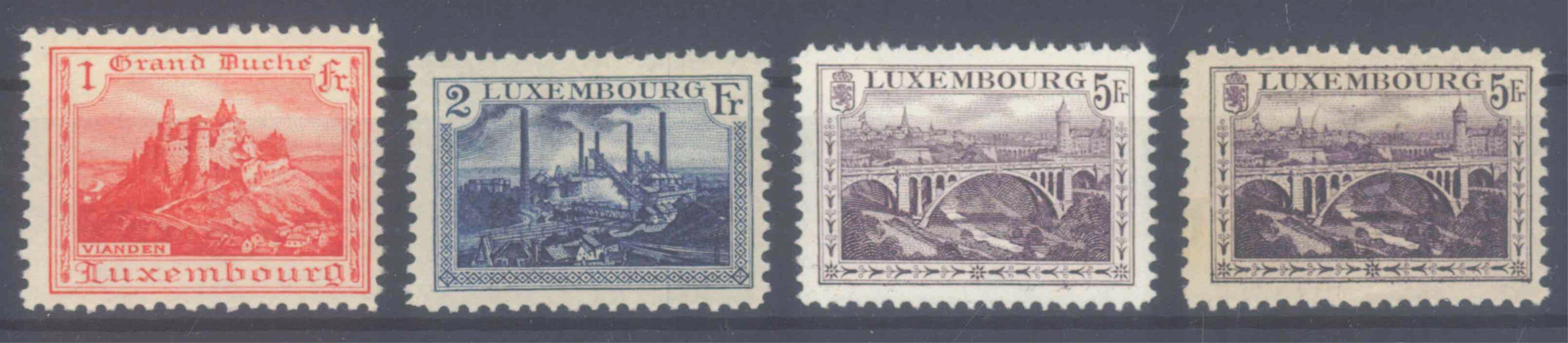 1921 LUXEMBURG, Freimarken Landschaften mit 136 A/B