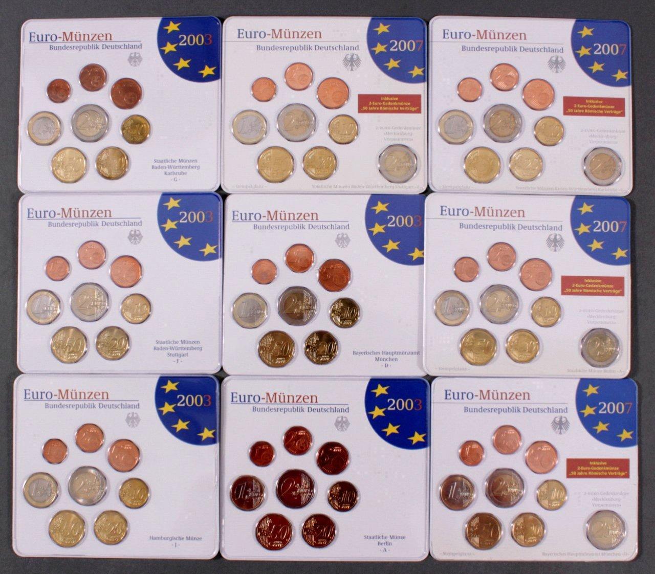 BRD Euro-Kursmünzensätze, 9 Stück