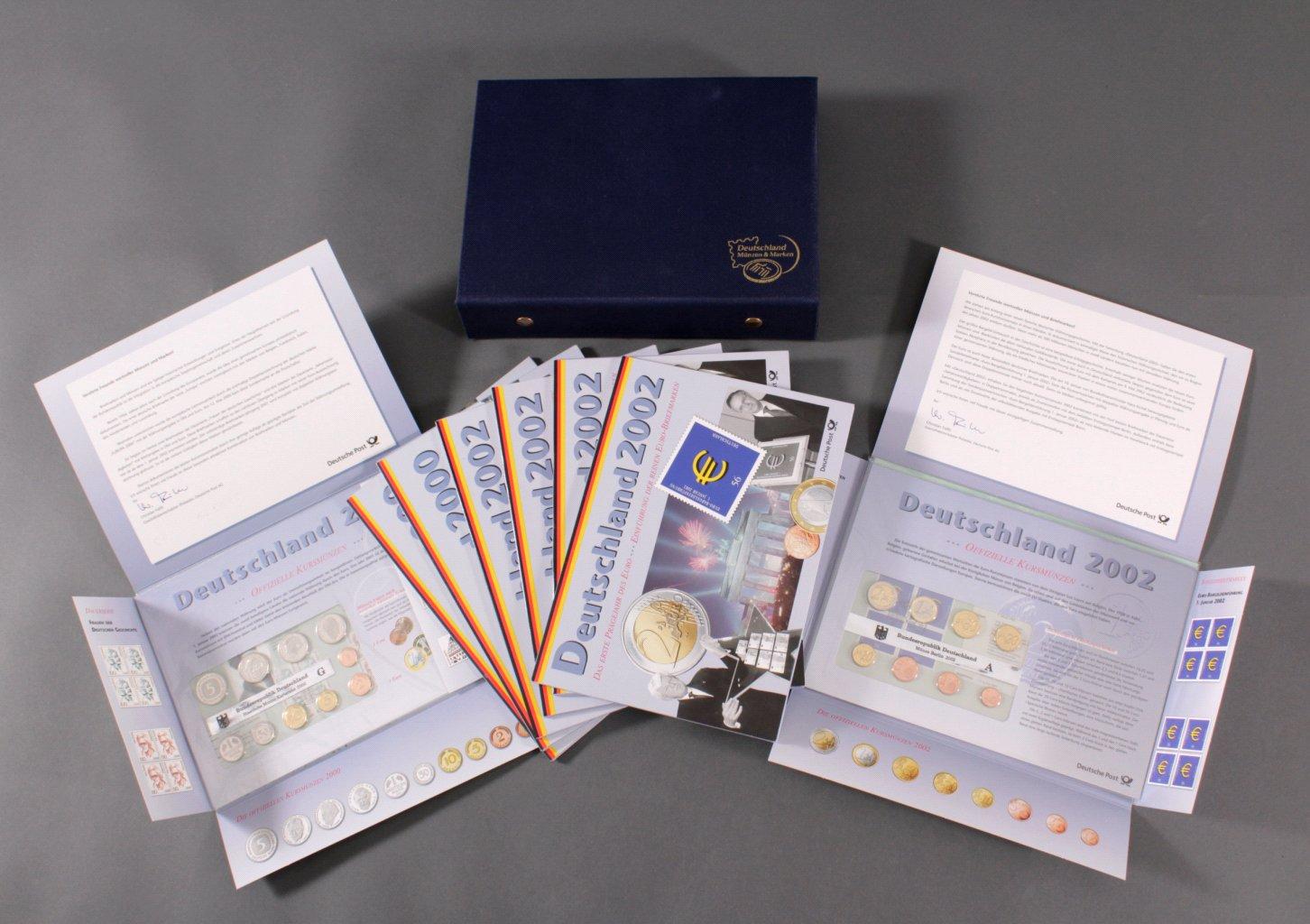 BRD das erste Prägejahr des Euro mit Briefmarken