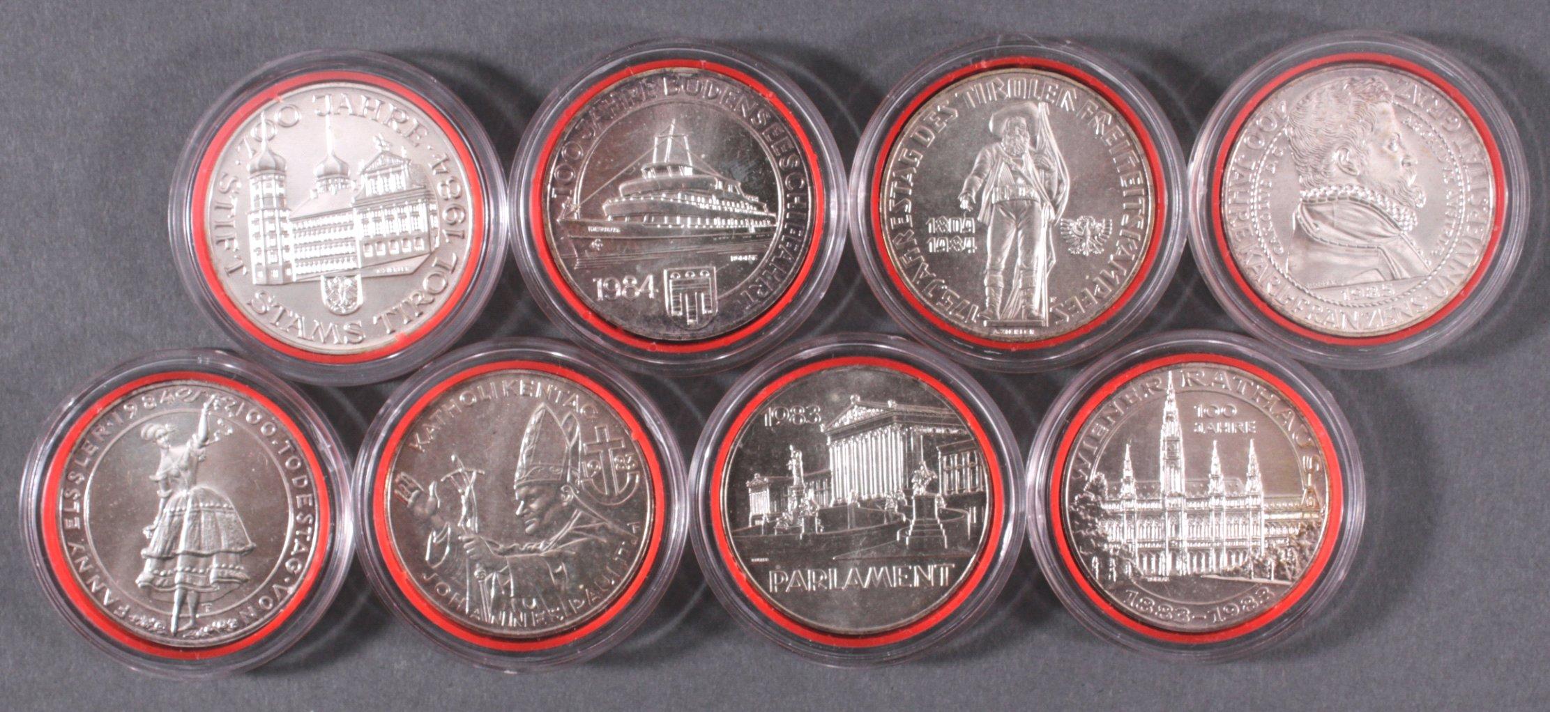 8x 500 Schilling Münzen