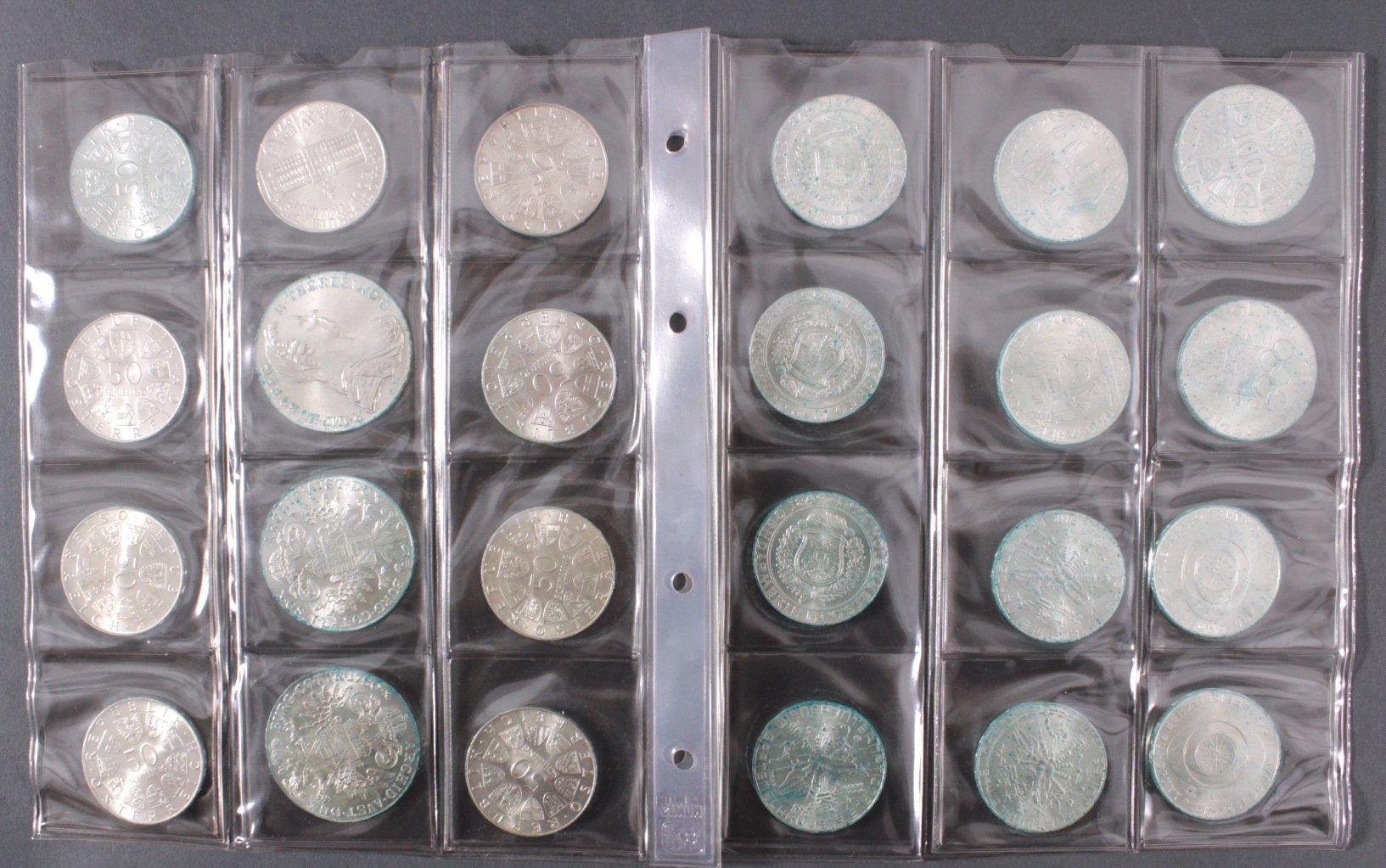 20x 50 Schilling Münzen + Silbermünzen