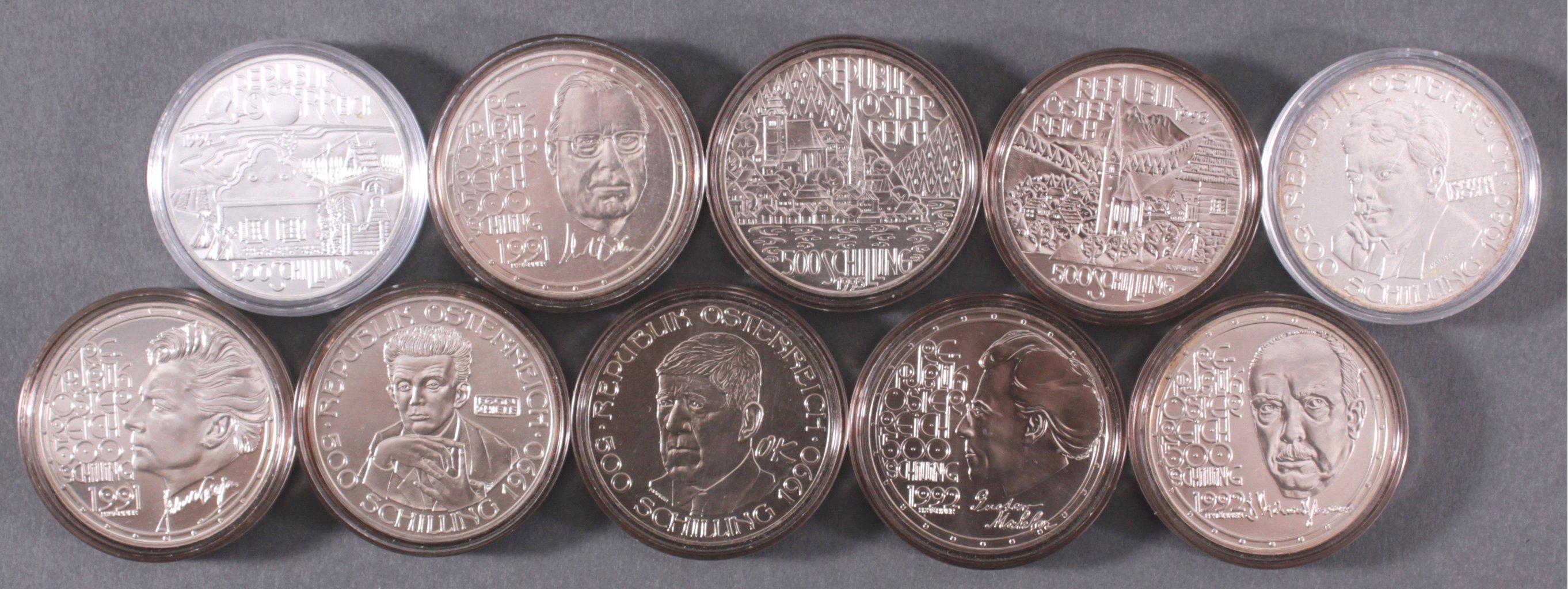 10x 500 Schilling Münzen