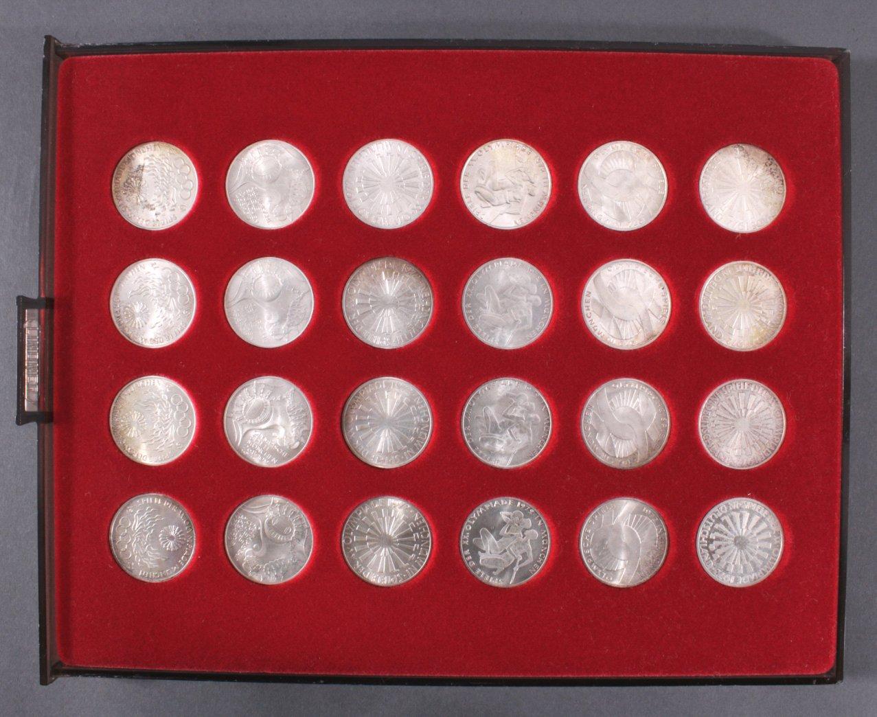 Kompletter Satz München 1972 10-DM Münzen