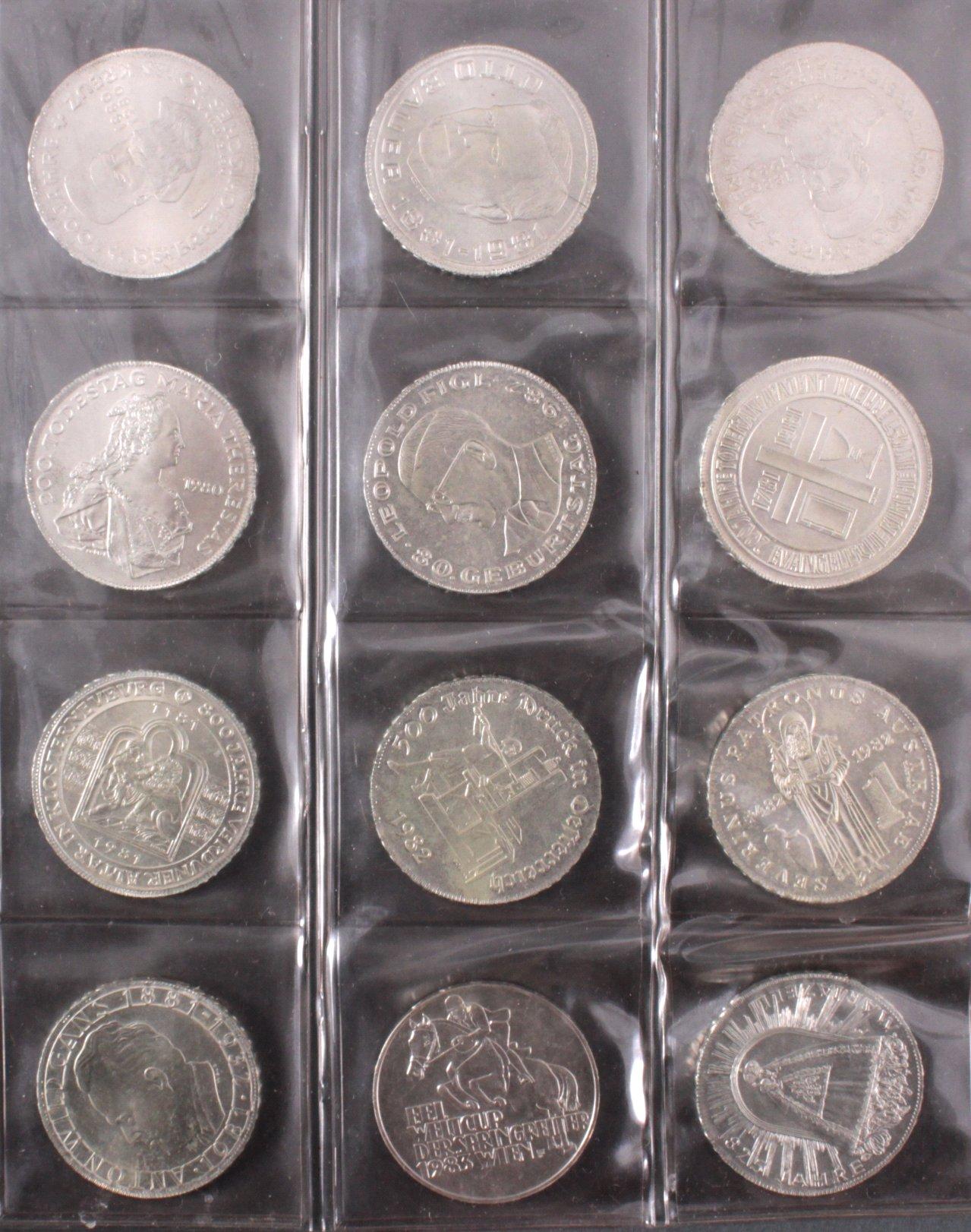 Partie mit 12 x 500 Schilling Silbermünzen