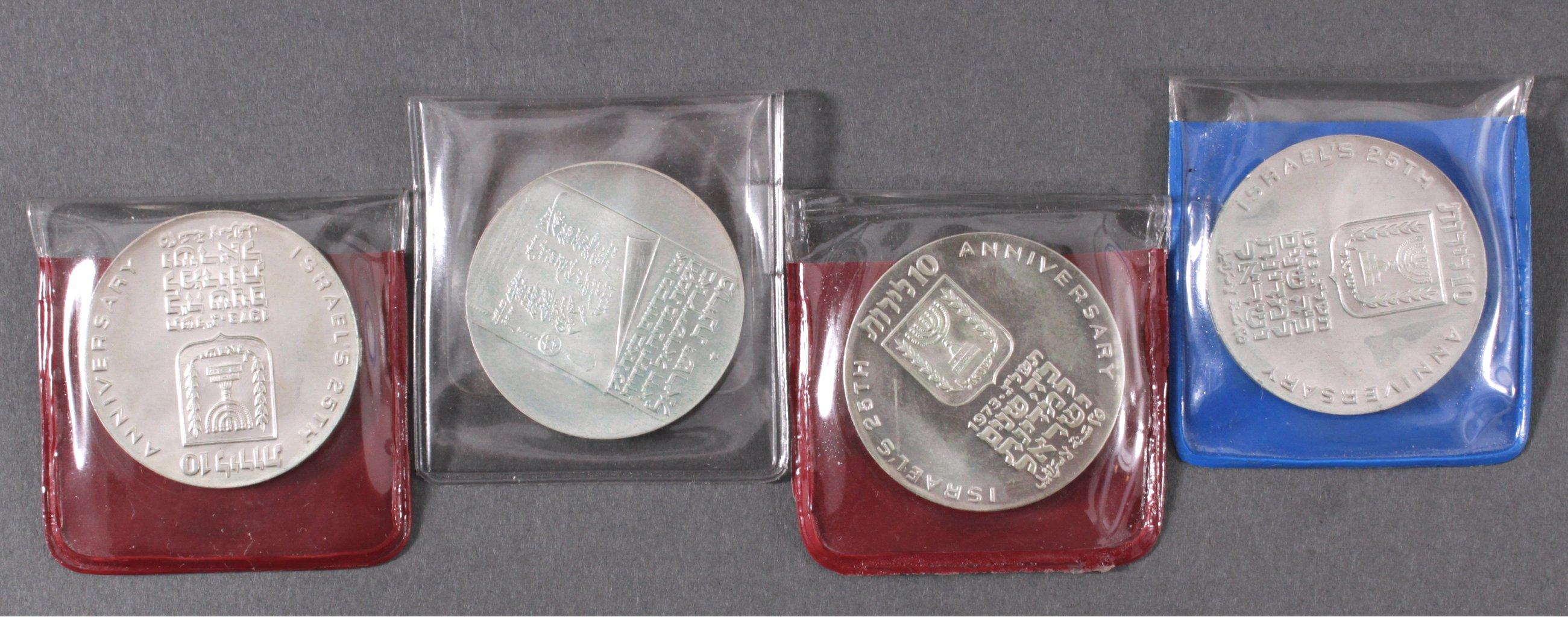 4x Silbermünze Israel