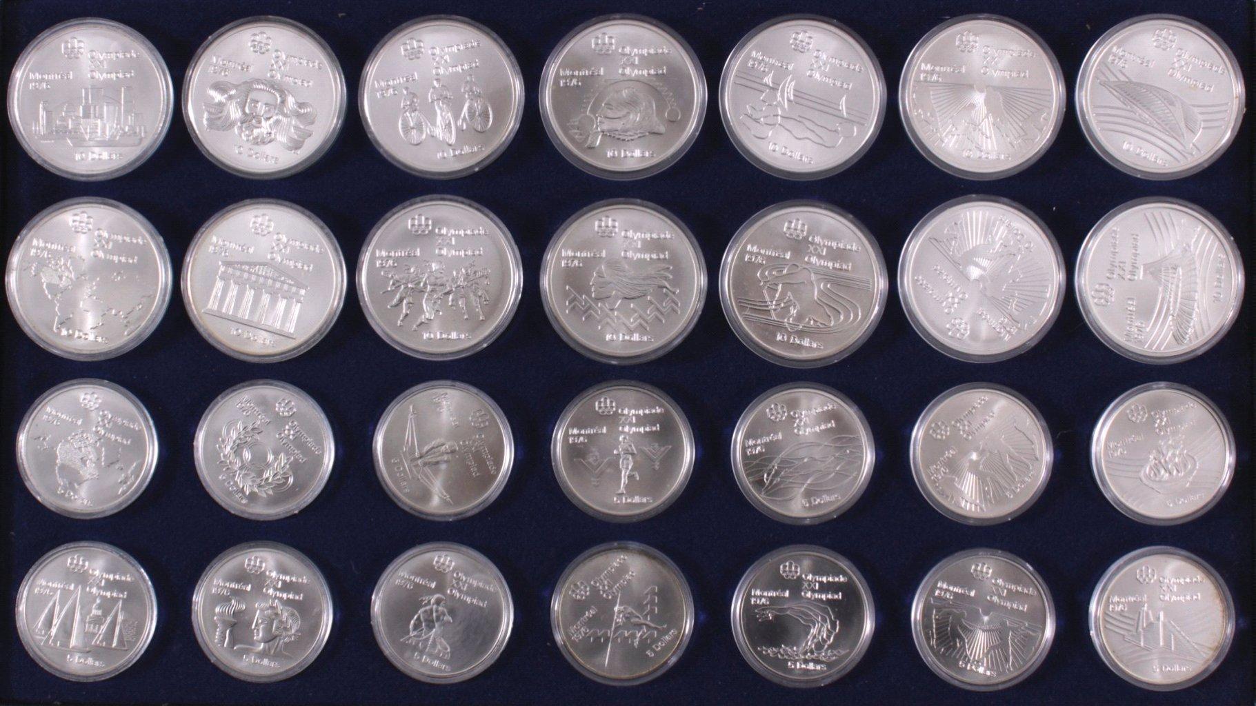 XXI. Olympiade Montreal Sammlung Silbermünzen