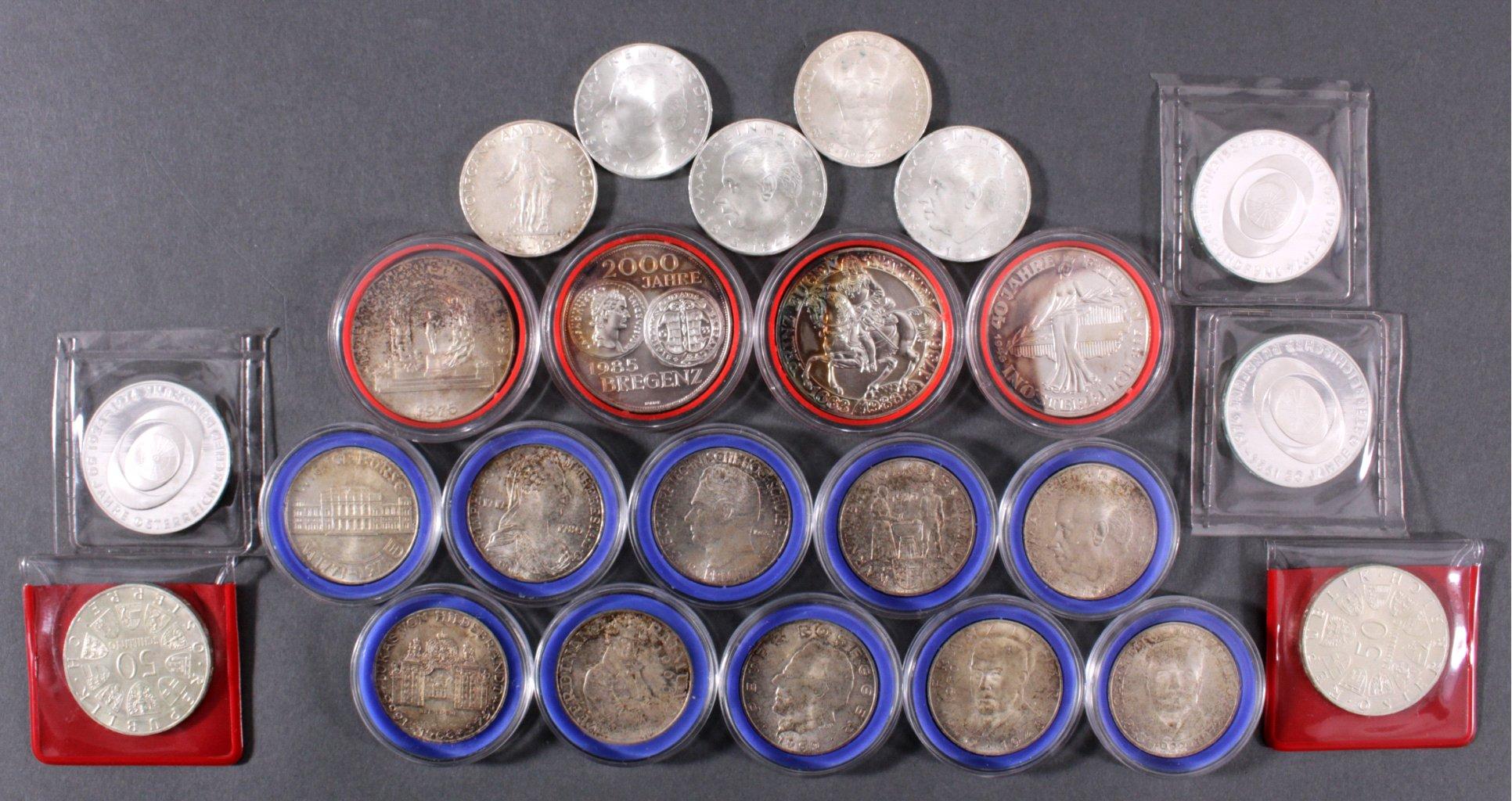 Sammlung österreichische Schilling Silbermünzen