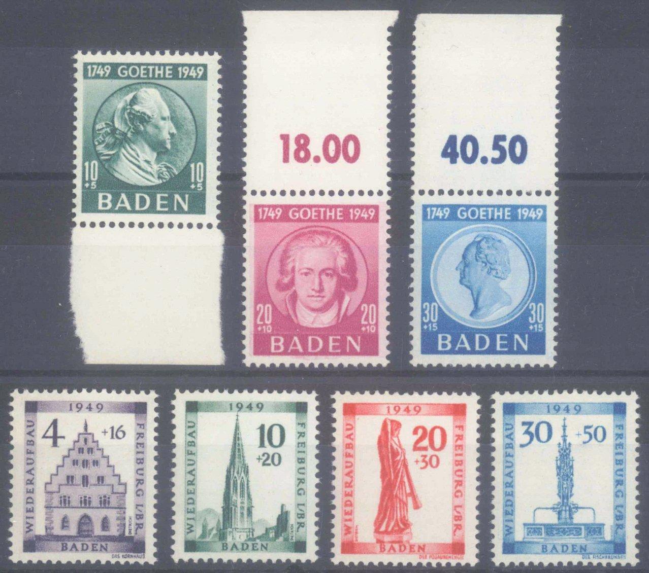 FRANZÖSISCHE ZONE BADEN 1949, Wiederaufbau und Goethe