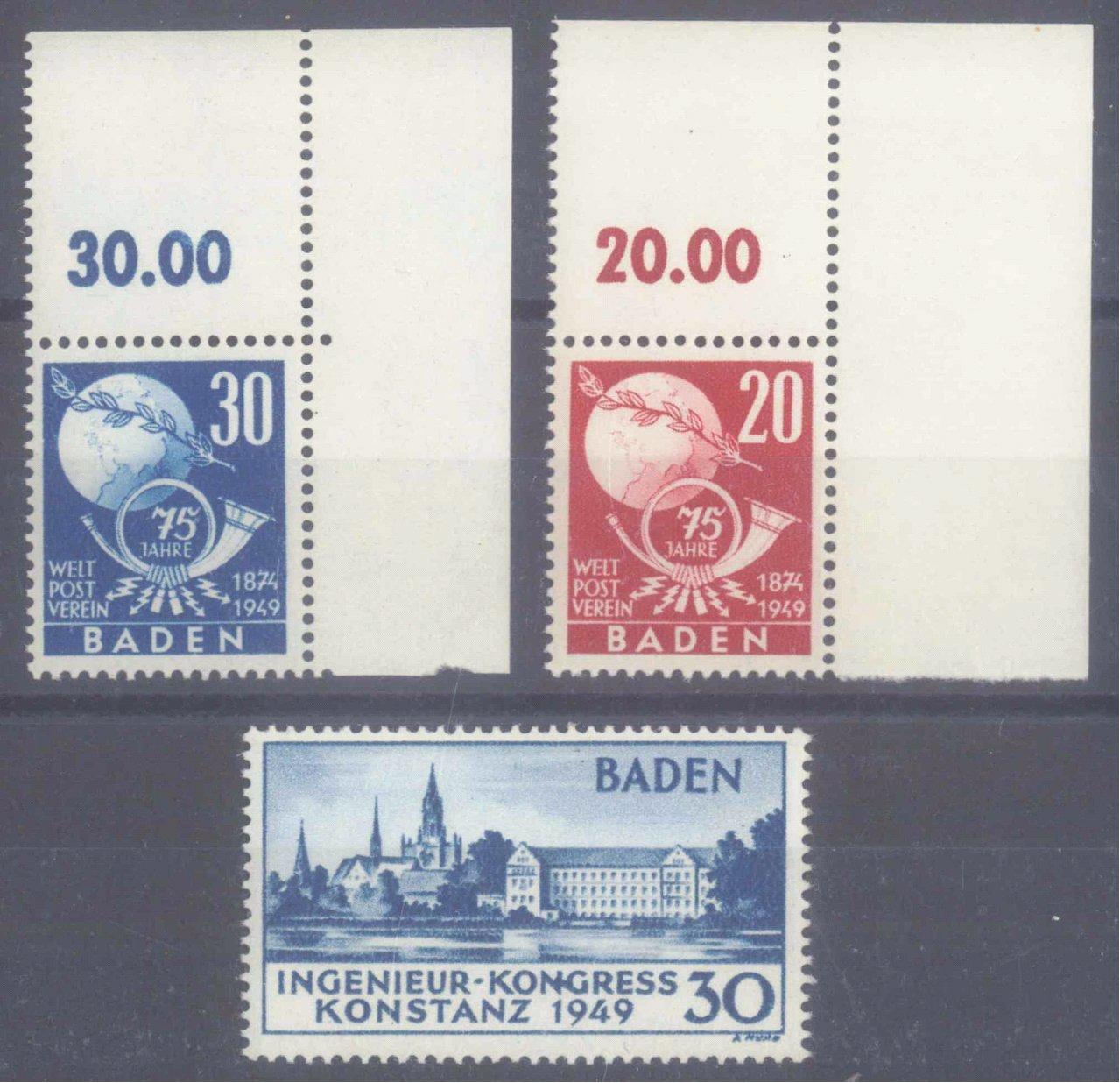 FRANZÖSISCHE ZONE BADEN 1949, KONSTANZ I PF II + UPU Ecken