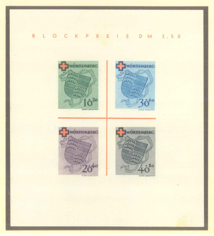 FRANZÖSISCHE WÜRTTEMBERG 1949, Rotes Kreuz-Block